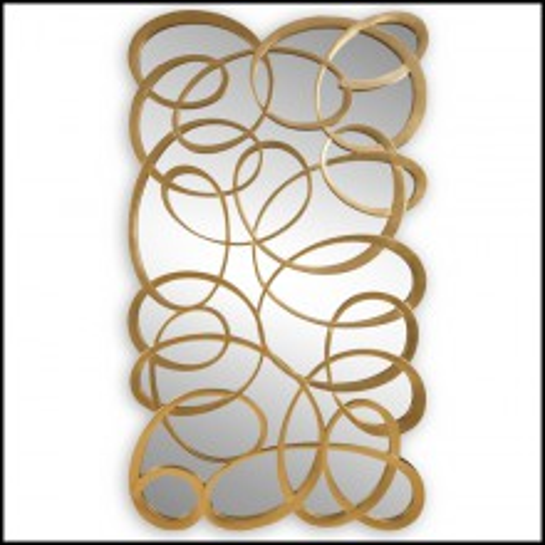 Miroir avec structure en bois d'acajou sculpté et peinte à la main avec peinture dorée 119-Swirl Gold