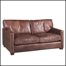Sofa 2-seat upholstered and covered with genuine leather in cigar finish 22-Alabama