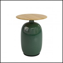 Side table made with handcrafted green ceramic base and with teak top 45-Aqua Ceramic