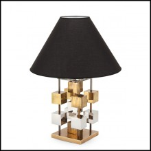 Lampe de table avec finition dorée cubes en métal chromés et abat-jour noir 162-Cubism
