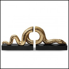 Bookend set in gold plated platinum on black marble base172-Snake Gold