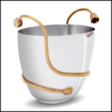 Champagne cooler in polished stainless steel with 24-karat gold plated stalk 172-Gold Stalk