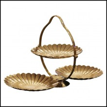 Serving piece all in brass in vintage brass finish 24-Triple Shell