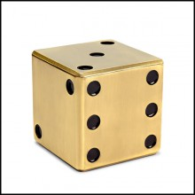 Box in solid brass in antique finish 172-Dice Brass
