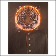 Wall decoration with photo on canvas with wooden frame and orange round LED neon 173-Tiger Neon