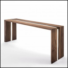 Console Table with solid walnut wood varnished 154-Resin Linea