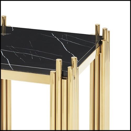 Table basse avec structure en métal finition laiton et en bois de chêne et noyer massif 173-Carolina
