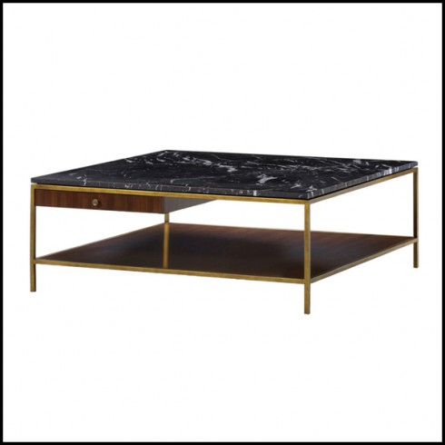 Coffee Table With Structure In Metal In Brass Finish With