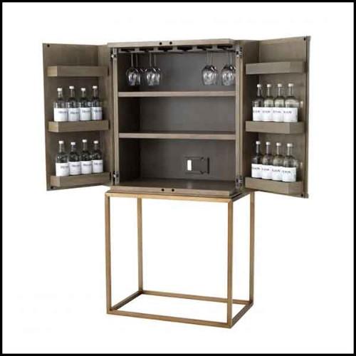 Table d'appoint avec structure en acier inoxydable finition laiton brossé 24-Resine Marble