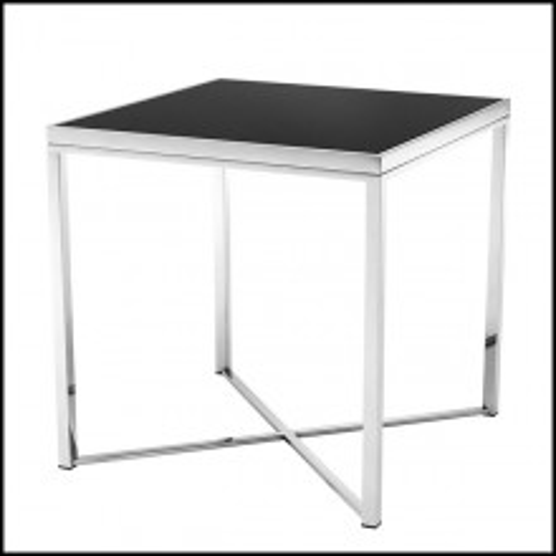 Table d'appoint avec structure en acier inoxydable poli et plateau en verre noir 24-Orlando
