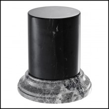 Column with structure in black marble and grey marble base 24-Duro