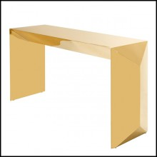 Console table with structure in gold finish stainless steel 24-Barow
