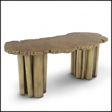Desk with structure in solid brass in polished patina finish 145-Veining Brass Patina