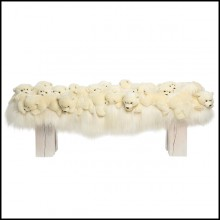 Bench made with small polar bears on all the seat PC-Polar Bear