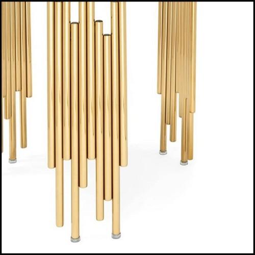 Table d'appoint avec base en métal poli et doré et plateau rond en pierre blanche 162-White Stone