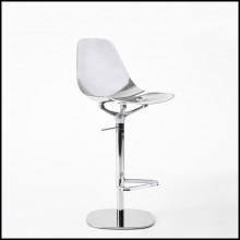 Tabouret de bar en aluminium poli finition chromé 107-Needle Swivel