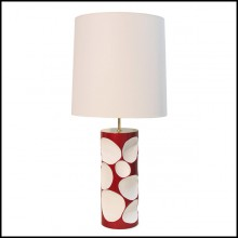 Table lamp with structure in fiberglass in red laquered finish 155-Allia