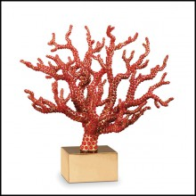 Sculpture handcrafted with red coral cabochons 172-Red Coral
