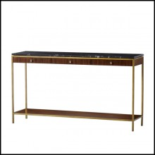 Console table with structure in steel in brass finish with solid oak and walnut structure 173-Carolina