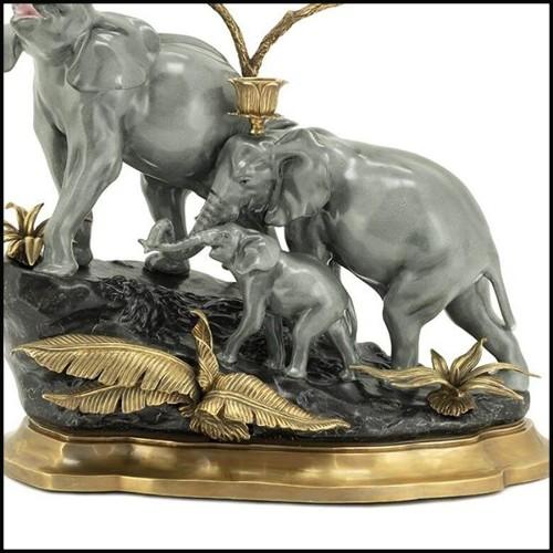Table basse avec structure en métal finition laiton et bois de chêne massif et de noyer 173-Carolina