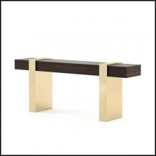 Console table with 2 feet base in polished stainless steel in gold finish 174-Gold Feet