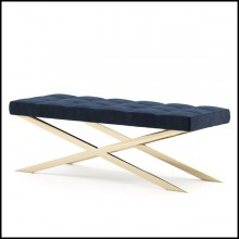 Bench with structure in polished stainless steel in gold finish and high quality blue fabric 174-Hilton X