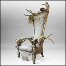 White Alligator Throne with Natural Moose Antler PC-White Alligator