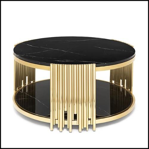 Étagère avec piétement en eucalyptus mat fumé et structure finition Gold 174-Center Frame
