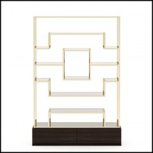Shelf with base in solid smoked matte eucalyptus and with frame in gold finish 174-Center Frame