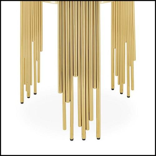Table d'appoint avec plateau en eucalyptus mat et base en acier inoxydable poli finition Gold 174-Square Gold