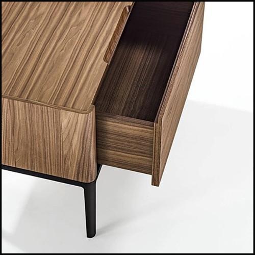 Table d'appoint avec plateau en chêne noir verni et base en acier inoxydable poli finition Gold 174-Cross Gold