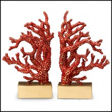 Set of 2 Bookends handcrafted sculpture with more than 8000 red coral cabochons 172-Red Coral Set