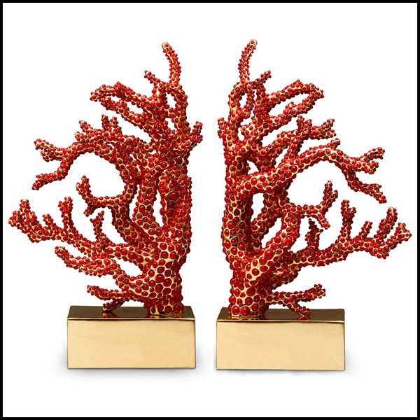 Set Of 2 Bookends Handcrafted Sculpture With More Than 8000 Red Coral Cabochons 172 Red Coral Set Pacific Compagnie