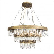 Chandelier with structure in solid brass in antique brushed finish and carved quartz crystal sticks 155-Crystal Sticks Triple