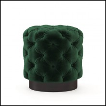Stool upholstered and covered with green velvet capitonated fabric 174-British Green