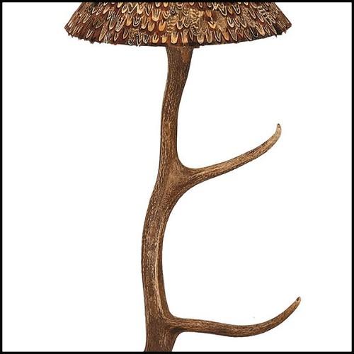 Lampe de table avec base en marbre emperador foncé et acier inoxydable poli finition Gold 174-Empire Marble