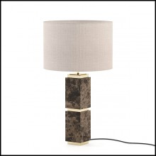 Table lamp with solid dark emperador marble base and with polished stainless steel in gold finish 174-Empire Marble