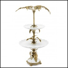 Serving piece with 2 plates and base in enameled porcelain 162-Palms Center