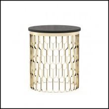 Side table with structure in polished stainless steel in gold finish 174-Scales