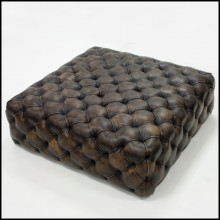 Browny Leather Ottoman 176-Browny Leather