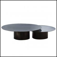 Set de 2 tables basses avec structure tout en acier brut finition dark 147-Raw Steel Round