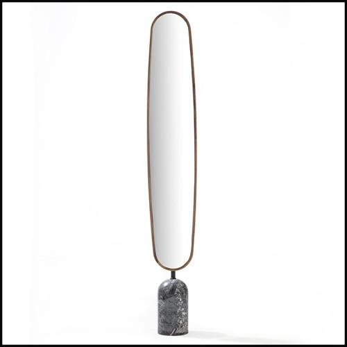 Table d'appoint avec plateau en bois pétrifié naturel et piétement en métal chromé 162-Petrified top
