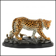 Sculpture leopard all in hand painted porcelain with brass details on base 162-Standing Leopard