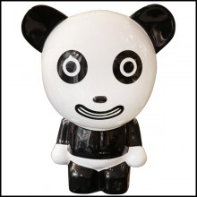 Sculpture by artist Jiji in lacquered painted resin PC-Happy Panda