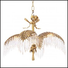 Chandelier with structure in brass vintage finish and crystal glass 24-Crystal Palms S