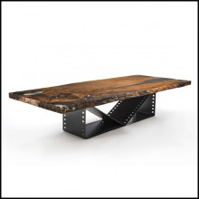 Dining table with iron base forged like a film roll and with a solid kauri wood top 154-Film Roll Kauri