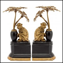 Bookends set of 2 in solid bronze and with base in hand painted porcelain 162-Monkeys and Palms