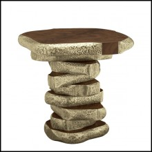 Walnut Slices Brassed Side Table 155-Walnut Slices