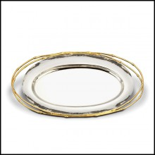 Tray in nickel-plated with handles 24-karat gold-plated 172-Bamboo Gold