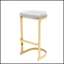 Tabouret avec structure en métal finition or et assise en tissu velours gris 162-Sweety Gold High